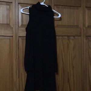 Black turtle neck cold shoulder dress